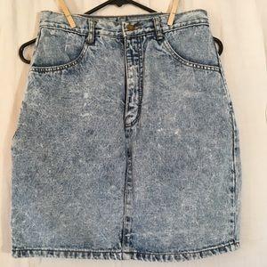 Vintage Acid Wash Denim Pencil Mini Skirt